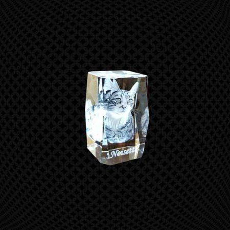 Bloc de verre 3D biseauté 8cm