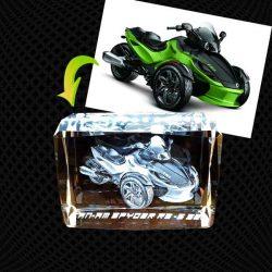 Cube Moyen Bords Biseautés en verre gravure 3D – 12cm