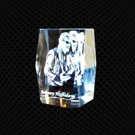 Bloc de verre 3D biseauté 12cm