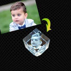 Petit Cube Pan Coupé en verre gravure 3D – 5cm