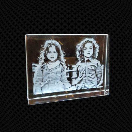 Cadre prisme trapèze en verre gravure 2D 14cm