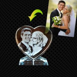 Cœur en verre gravure  2D avec support – 10cm
