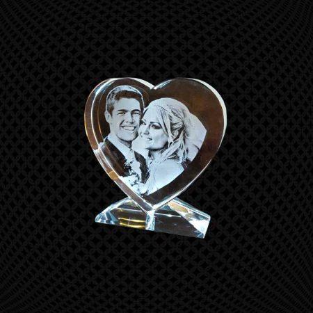Cœur en verre gravure 2D avec support 10cm
