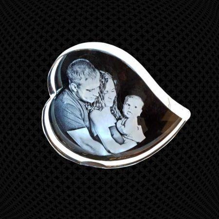 Grand Cœur en verre gravure 2D 16cm