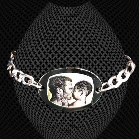 Bracelet médaillon ovale à graver grosse maille 6mm