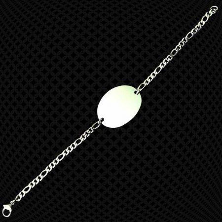 Bracelet médaillon ovale à graver maille 4mm